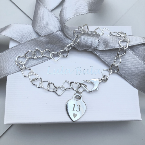 13th birthday gift charm bracelet - FREE ENGRAVING